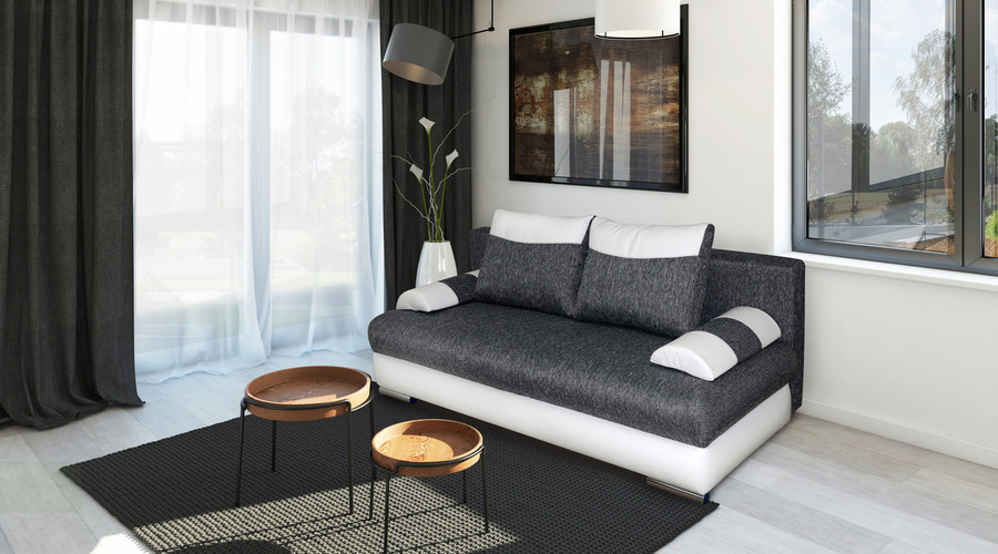 A sofa Bed and Table are Of the Category Furniture